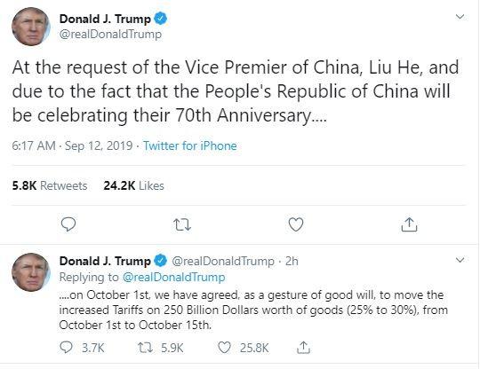 Quốc khánh Trung Quốc, Mỹ hoãn đánh thuế hai tuần - ảnh 1