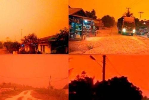 Bầu trời chuyển màu đỏ như máu giữa ban ngày ở Indonesia - ảnh 1