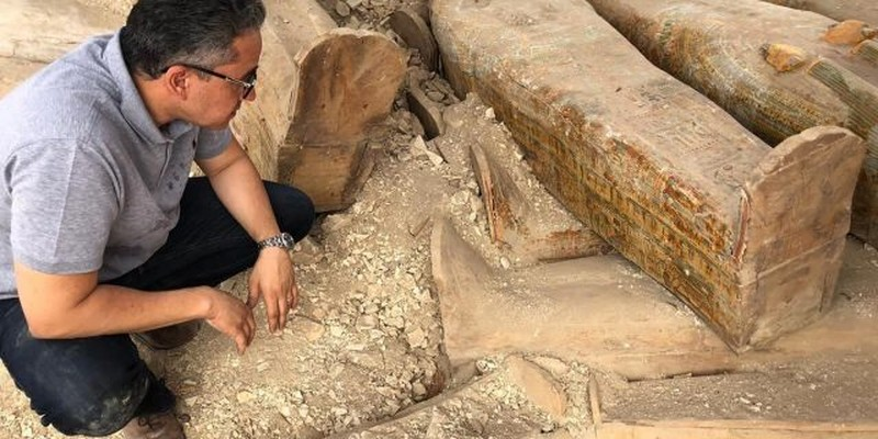 Archaeologists found at least 20 wooden coffins in the Asasif Necropolis, Luxor.