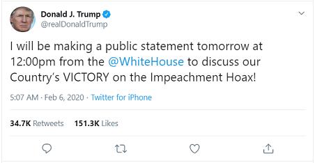 Phản ứng đầu tiên của ông Trump sau khi được tuyên vô tội - ảnh 2