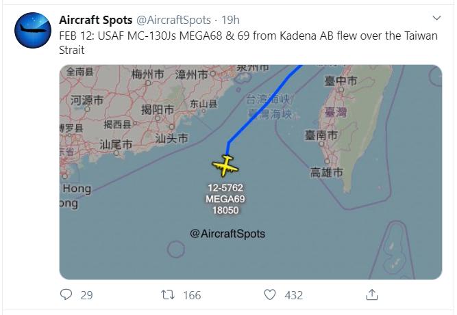 Trung Quốc tập trận, Mỹ điều máy bay qua eo biển Đài Loan - ảnh 1