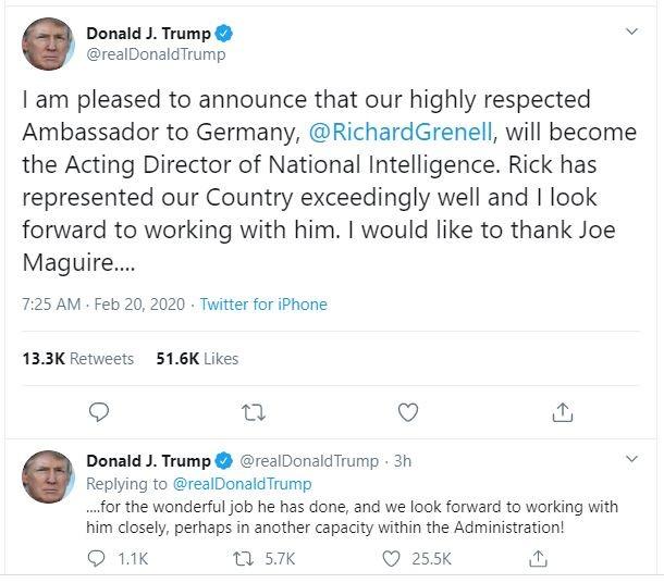Tổng thống Trump chỉ định quyền giám đốc tình báo mới - ảnh 1