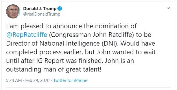 Nhân vật ông Trump 2 lần đề cử làm giám đốc Tình báo Quốc gia  - ảnh 1