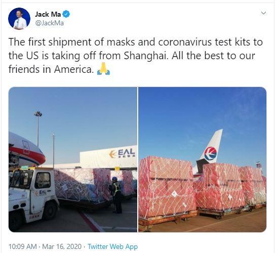 Lô hàng viện trợ của tỉ phú Jack Ma đã đến Mỹ - ảnh 2