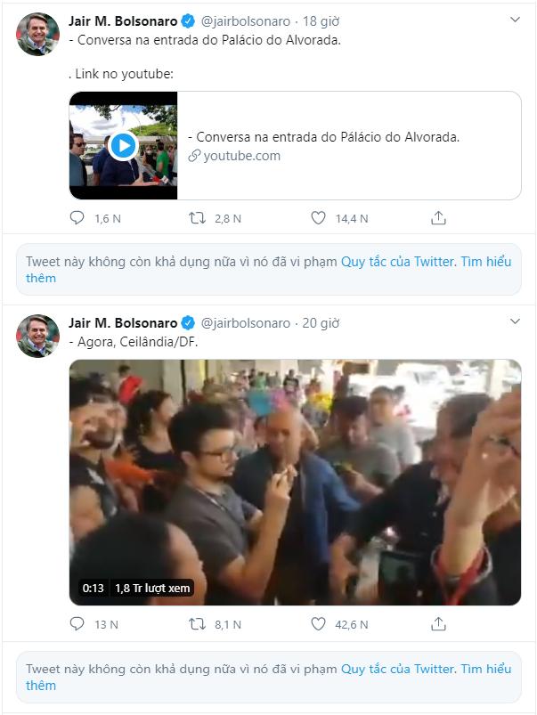 Tweet của Tổng thống Brazil bị xóa vì trái khuyến cáo COVID-19 - ảnh 1