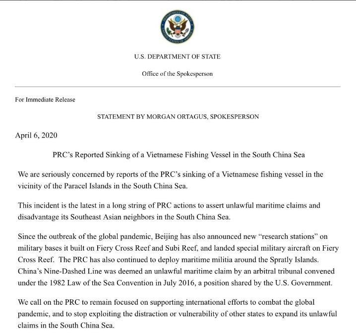 Mỹ lên án Trung Quốc đâm chìm tàu cá Việt Nam - ảnh 1