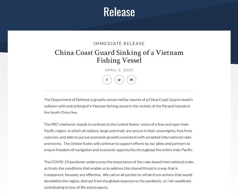 Mỹ tiếp tục lên tiếng vụ Trung Quốc đâm tàu cá Việt Nam - ảnh 1