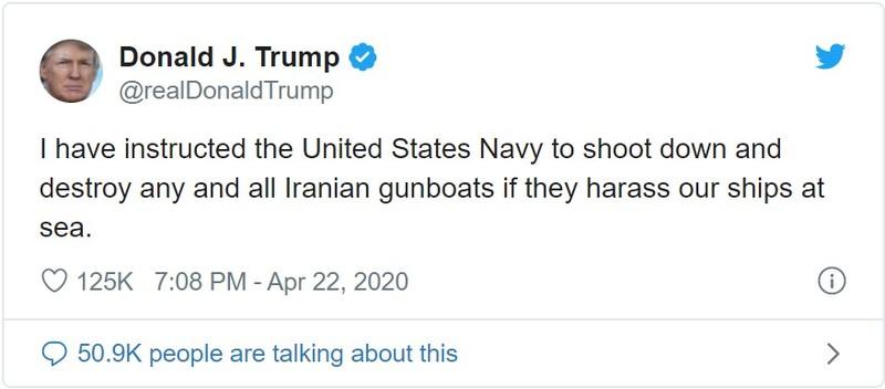 Ông Trump lệnh Hải quân Mỹ 'bắn, phá' tàu Iran nếu bị quấy rầy - ảnh 1