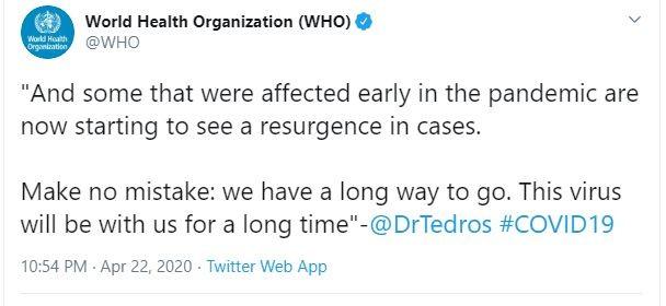 WHO cảnh báo COVID-19 chưa hết nguy hiểm và còn kéo dài - ảnh 1