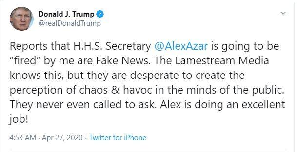 Tổng thống Trump bác tin cách chức bộ trưởng Y tế Mỹ - ảnh 1