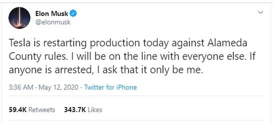 Tỉ phú Musk quyết mở cửa lại nhà máy bất chấp 'bị bắt' - ảnh 2
