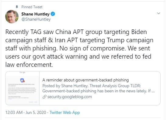 Google: Tin tặc Trung Quốc, Iran nhắm vào ông Trump và Biden  - ảnh 1