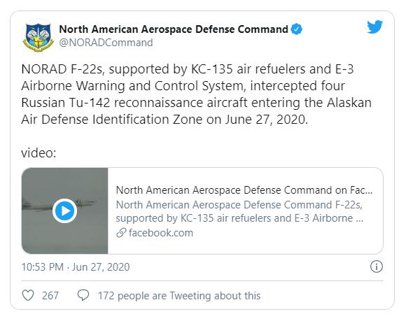 Mỹ điều tiêm kích F-22 chặn 4 chiếc Tu-142 Nga gần Alaska - ảnh 1