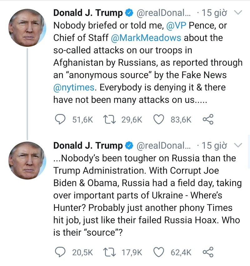 Đích thân ông Trump lên tiếng vụ Nga treo thưởng giết lính Mỹ - ảnh 1