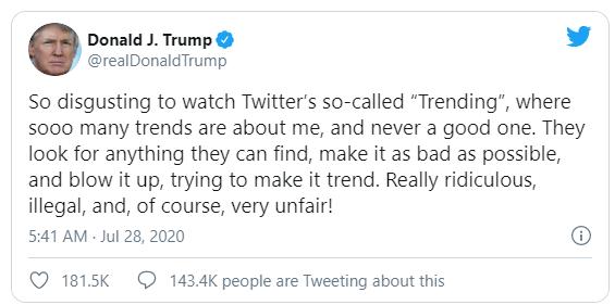Ông Trump tố Twitter đăng trending tiêu cực về mình - ảnh 1