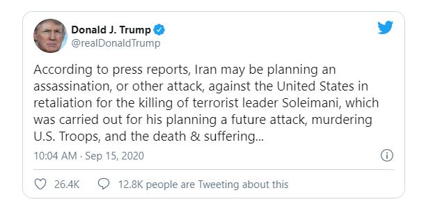 Ông Trump cảnh cáo Iran về âm mưu ám sát Đại sứ Mỹ - ảnh 1