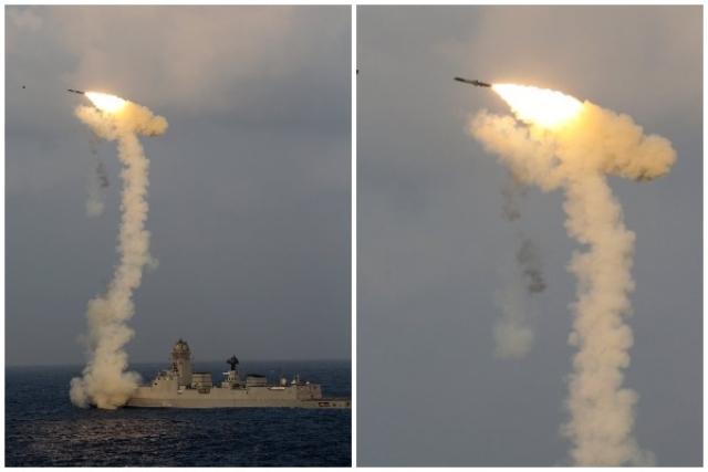 Ảnh: Ấn Độ phóng thử tên lửa siêu thanh BrahMos từ tàu chiến - ảnh 1