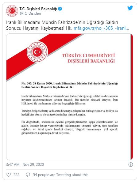 Thổ Nhĩ Kỳ lên tiếng vụ nhà khoa học hạt nhân Iran bị ám sát - ảnh 2