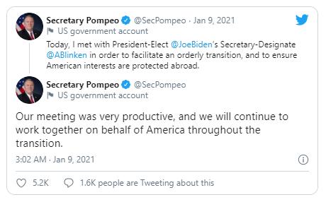 Ông Pompeo gặp ứng viên ngoại trưởng Mỹ mới lần đầu tiên - ảnh 1