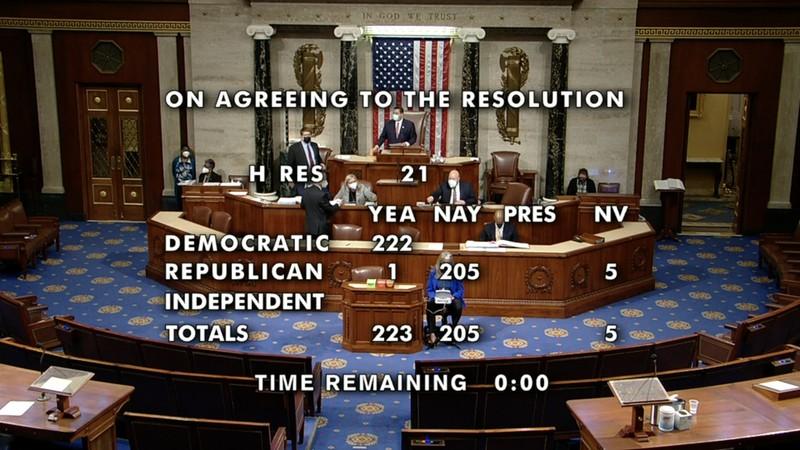 Hạ viện Mỹ thông qua nghị quyết về việc bãi nhiệm ông Trump - ảnh 1