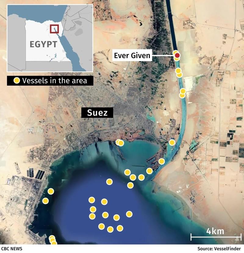 Tắc nghẽn kênh đào Suez do tàu 224.000 tấn mắc cạn - ảnh 3