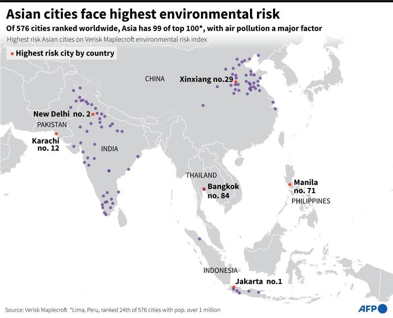 99/100 TP có nguy cơ môi trường cao nhất thế giới nằm ở châu Á - ảnh 1