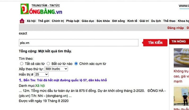 Trang dongbang.vn đăng tải trái phép tin bài của PLO.vn - ảnh 2