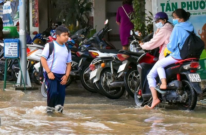 Dân Cần Thơ bì bõm lội nước đưa con đến trường - ảnh 2
