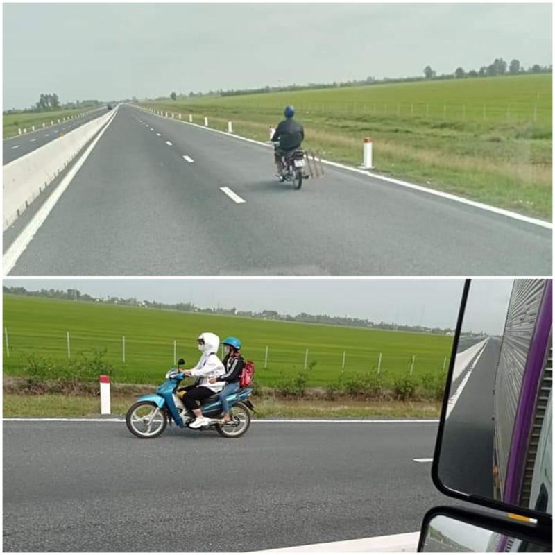 Xe mô tô vô tư đi vào tuyến cao tốc Lộ Tẻ - Rạch Sỏi - ảnh 1
