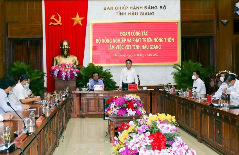 Bộ trưởng Lê Minh Hoan đề nghị Hậu Giang xây dựng cụm liên kết về nông nghiệp - ảnh 1