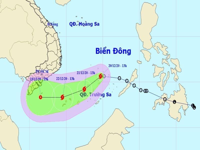 Áp thấp nhiệt đới mạnh lên thành bão số 14 trên Biển Đông  - ảnh 1