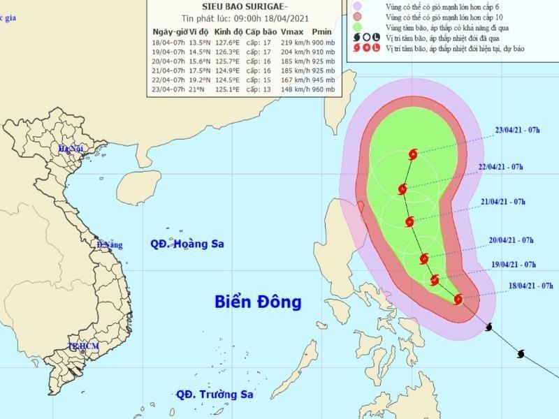 Các tỉnh sẵn sàng ứng phó, đề phòng siêu bão Surigae đổi hướng - ảnh 1