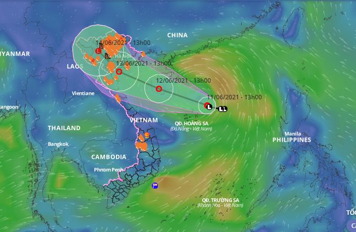 Ngày 12-6, áp thấp mạnh gây mưa lớn Bắc bộ và Trung bộ - ảnh 1