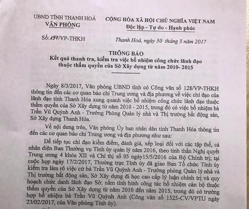 Thanh Hóa: Bổ nhiệm bà Quỳnh Anh có sai phạm  - ảnh 1