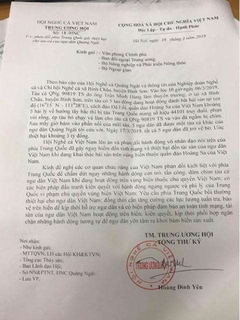 Hội nghề cá đề nghị Việt Nam yêu cầu Trung Quốc bồi thường - ảnh 1