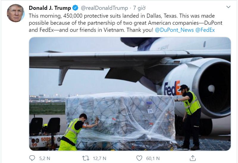 Ông Trump cảm ơn Việt Nam vì lô hàng sang Mỹ chống COVID-19 - ảnh 2