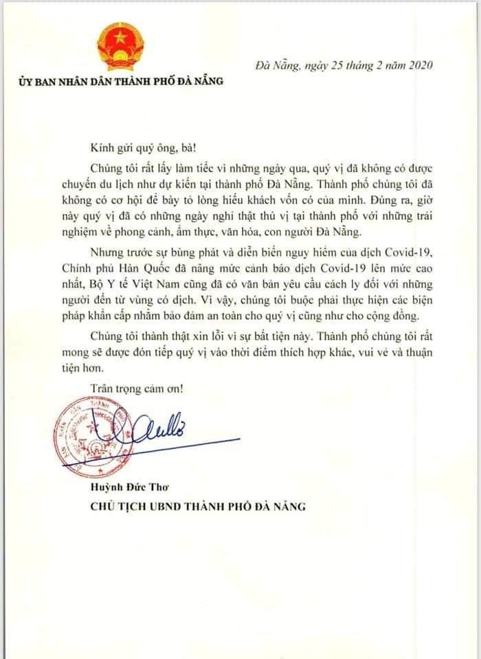 Chủ tịch Đà Nẵng gửi thư cho các công dân Hàn Quốc  - ảnh 1
