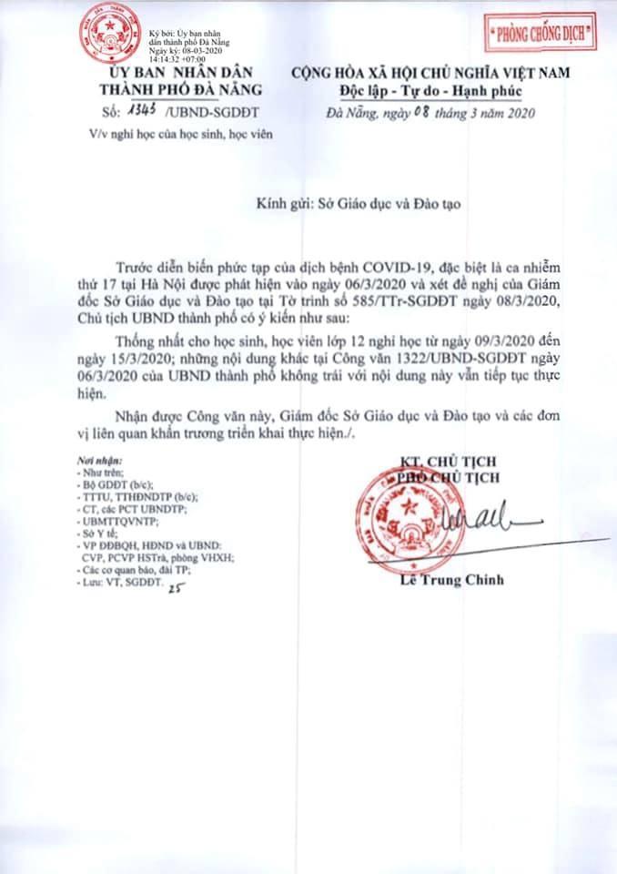 Đà Nẵng cho học sinh lớp 12 nghỉ học đến hết ngày 15-3 - ảnh 1