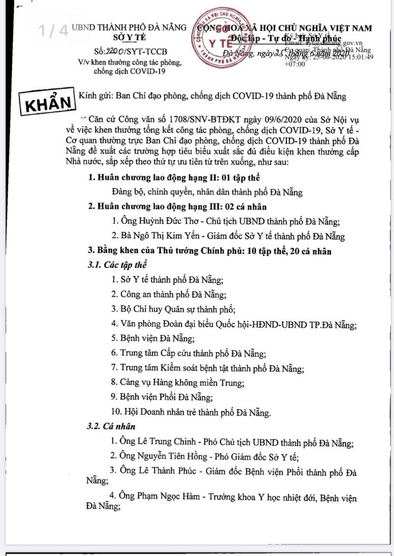 Giám đốc Sở Y tế Đà Nẵng xin rút khỏi danh sách khen thưởng - ảnh 2