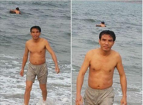 Dân đưa ảnh chủ tịch thị xã Cửa Lò tắm biển lên Facebook  - ảnh 1