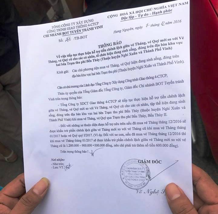 Công văn giảm phí vé tháng, vé quý cho người dân TP Vinh và huyện Nghi Xuân.