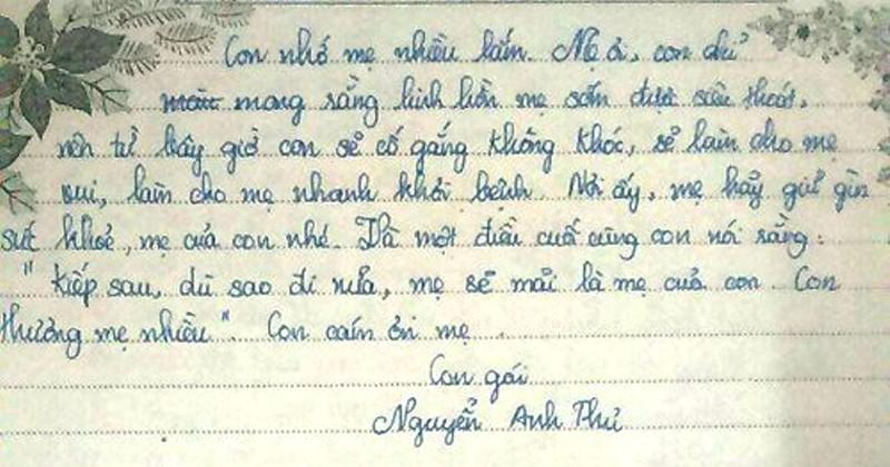 Bật khóc khi đọc thư của nữ sinh lớp 9 gửi mẹ đã mất - ảnh 2