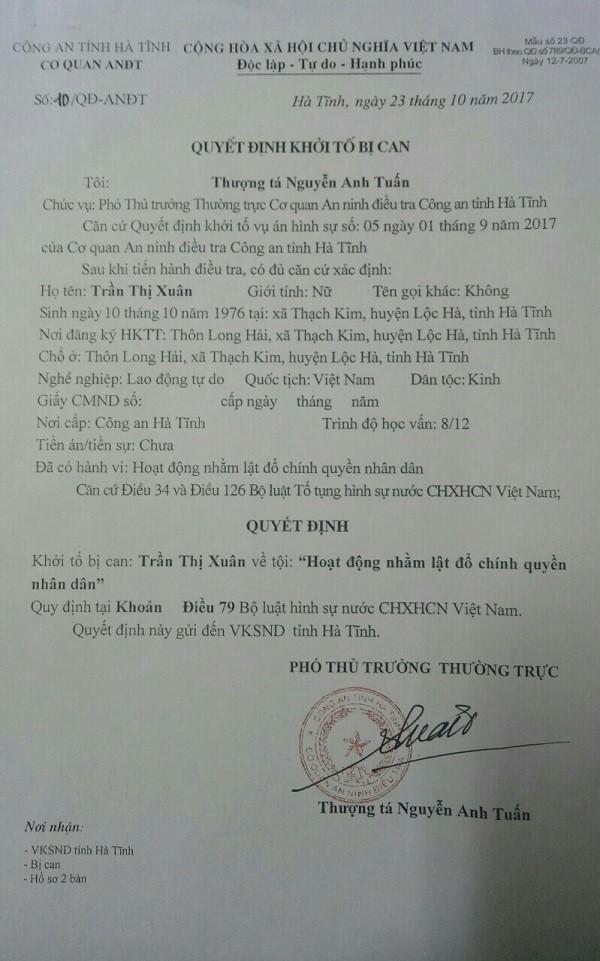 Khởi tố, bắt tạm giam Trần Thị Xuân  - ảnh 1