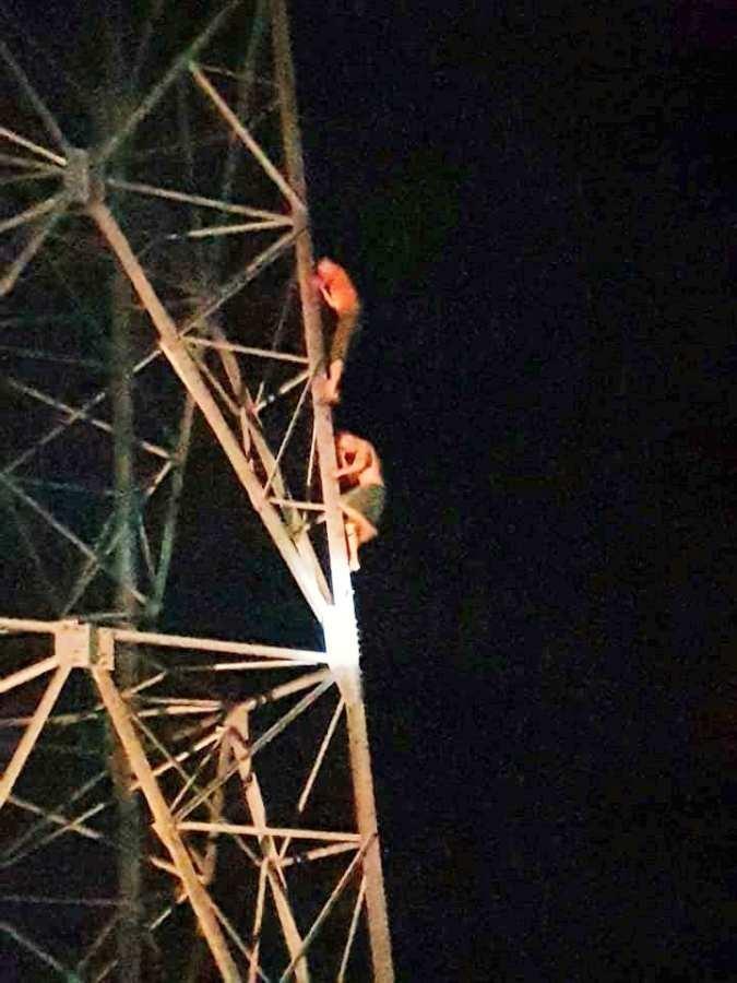 Giải cứu người đàn ông giận vợ leo lên cột điện cao thế - ảnh 1