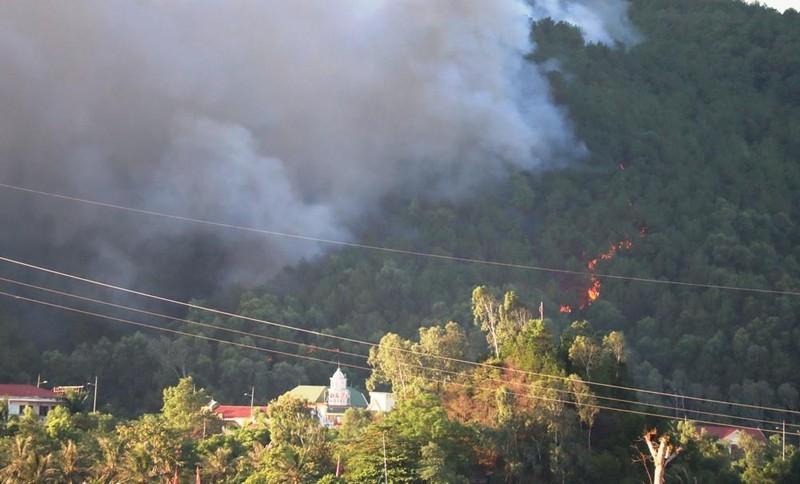 Cháy lớn ở núi Hồng Lĩnh, lửa tiến sát trạm xăng, nhà dân - ảnh 2