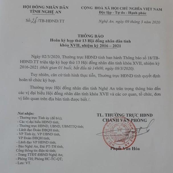 Nghệ An: Hoãn họp bầu chủ tịch tỉnh, cách ly một số cán bộ - ảnh 2