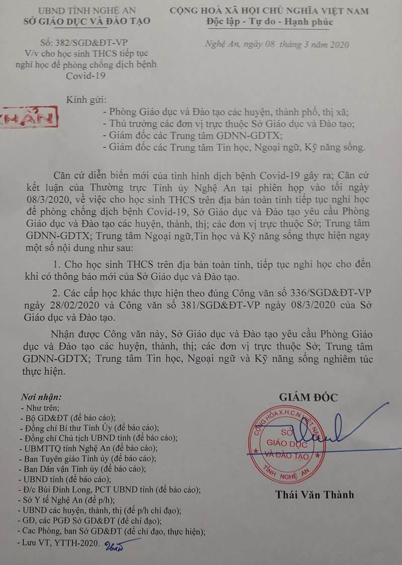 Nửa đêm ra công văn cho học sinh THCS ở Nghệ An nghỉ học - ảnh 1