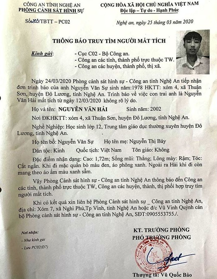 Nghệ An: Tìm kiếm nam sinh lớp 12 mất tích   - ảnh 2