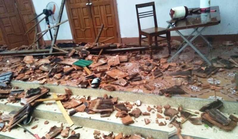 Sét đánh chết trâu, lốc xoáy gây đổ cây xuống nhà dân - ảnh 1