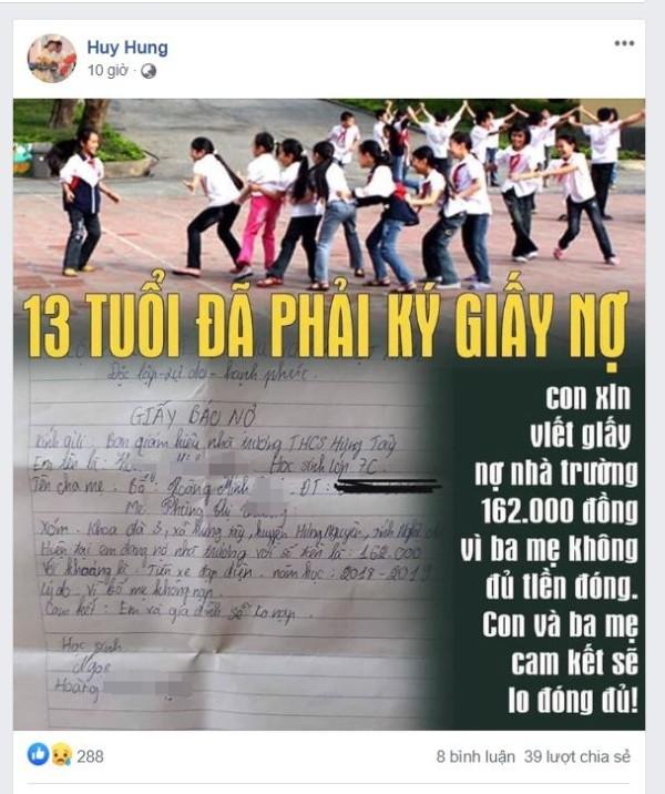 Sự thật học sinh 13 tuổi phải viết giấy nợ với trường  - ảnh 1